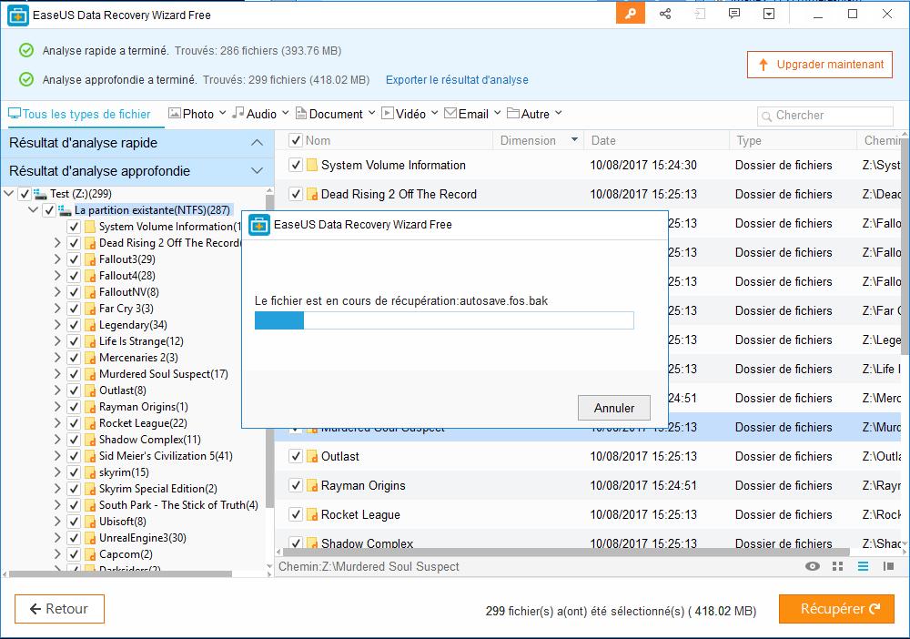 Easeus Data Recovery Wizard : récupérer des fichiers effacés Recup10