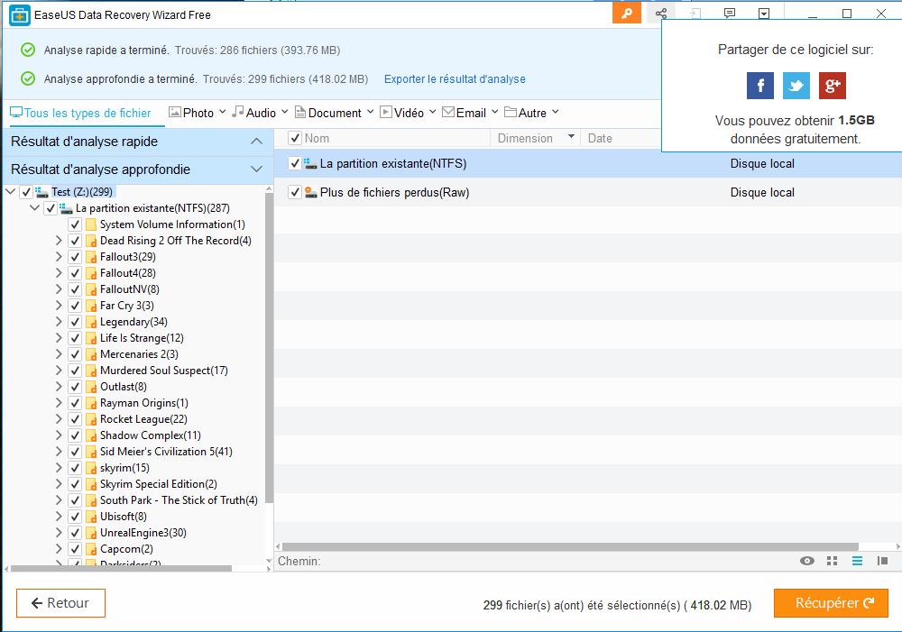 Easeus Data Recovery Wizard : récupérer des fichiers effacés Trouve10