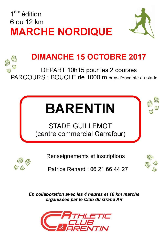 Marche nordique de l' AC Barentin : Compétitions de 12kms classée et de 6 kms non classée Barent12