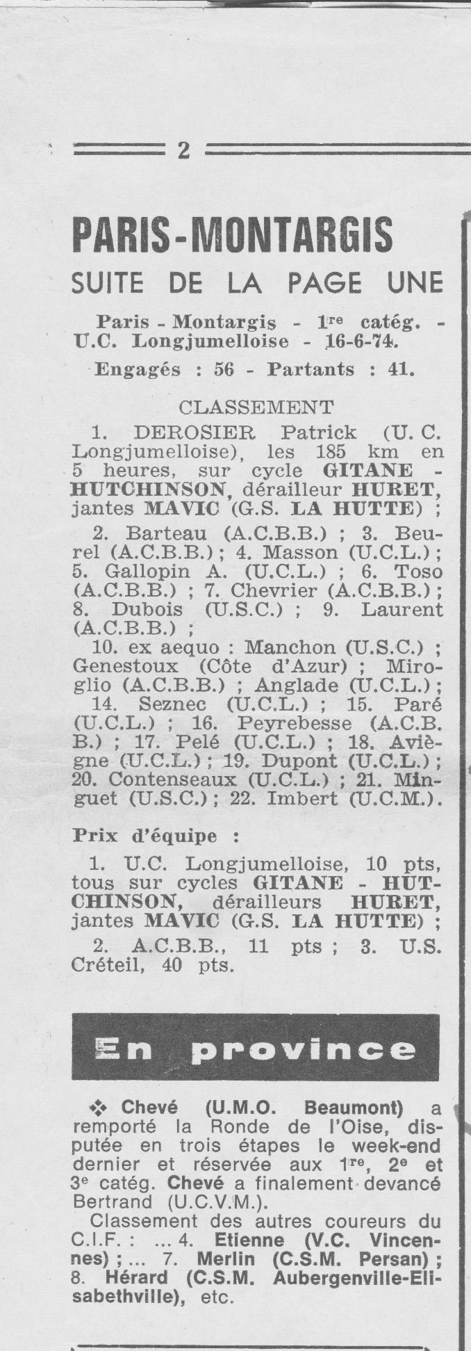 Coureurs et Clubs de juin 1974 à mars 1977 00421