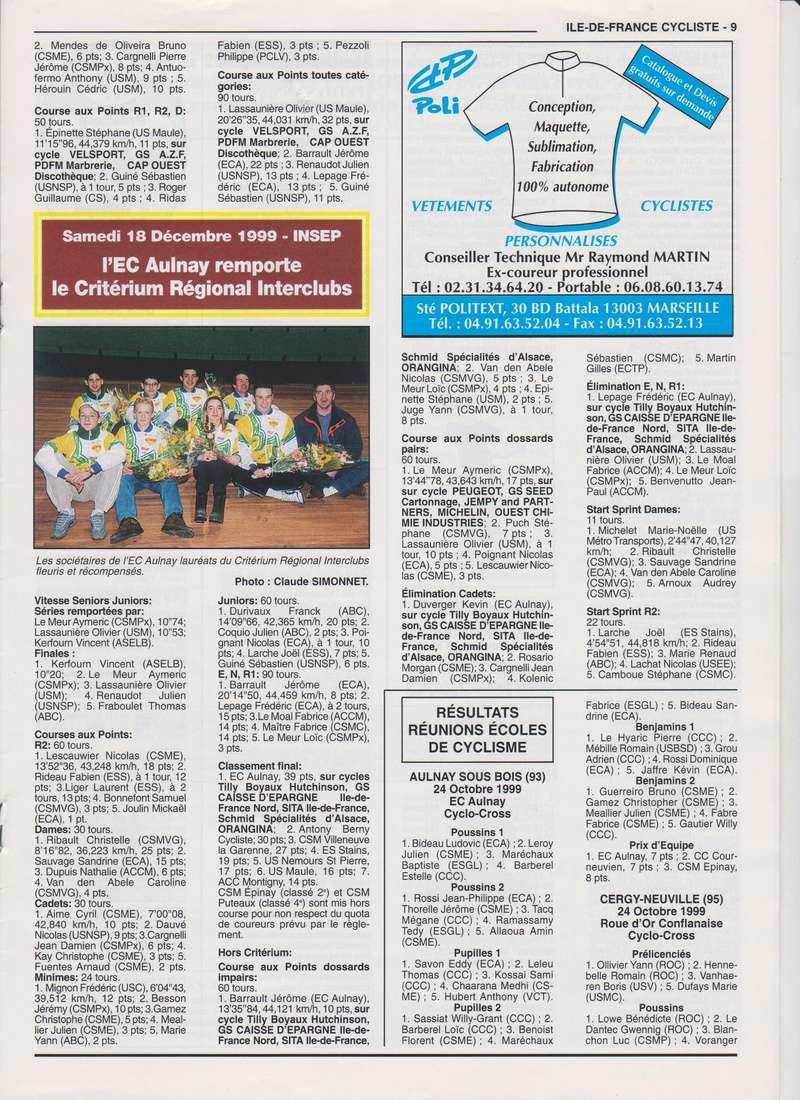 Coureurs et Clubs de janvier 2000 à juillet 2004 00932