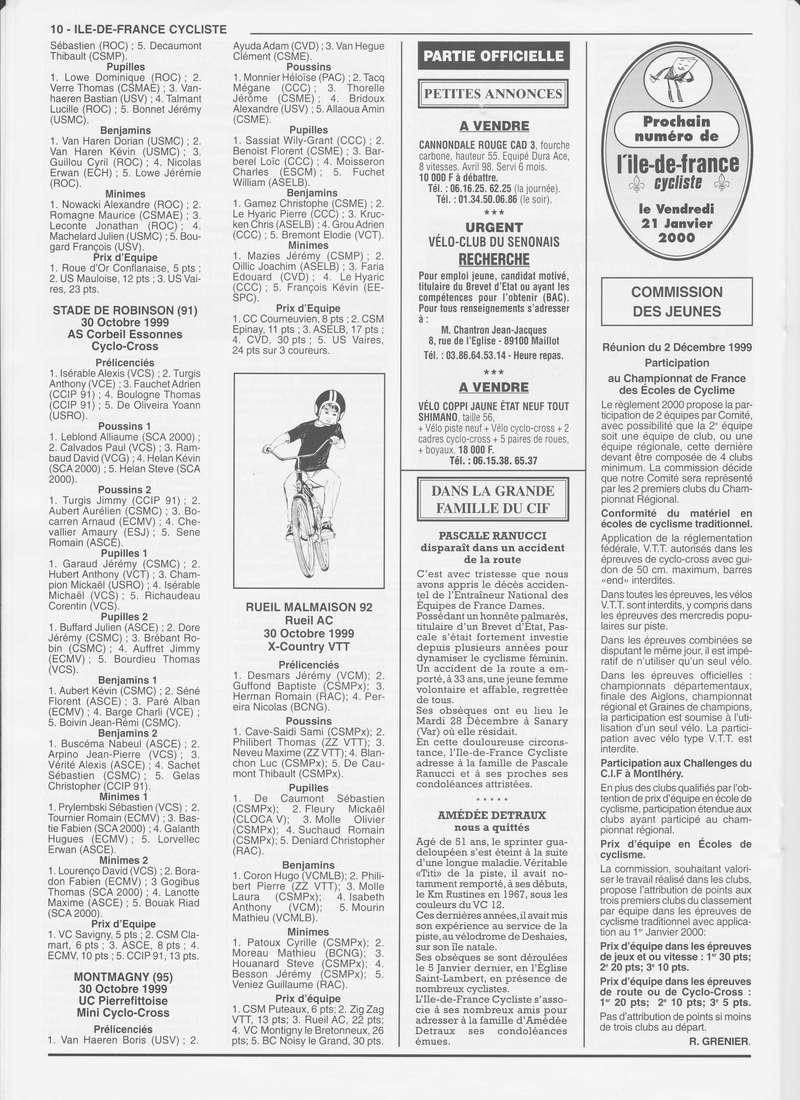 Coureurs et Clubs de janvier 2000 à juillet 2004 01034