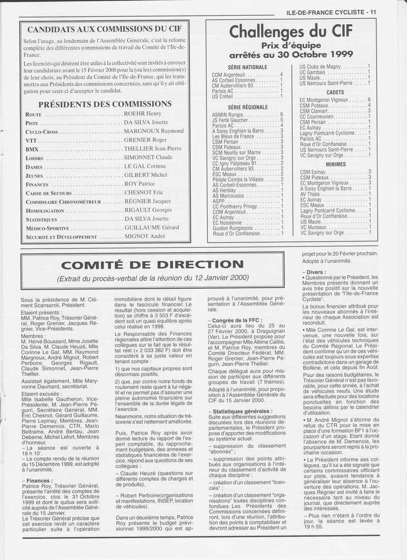 Coureurs et Clubs de janvier 2000 à juillet 2004 01133