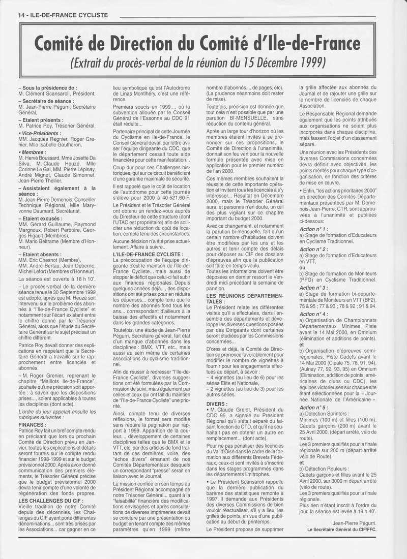 Coureurs et Clubs de janvier 2000 à juillet 2004 01431