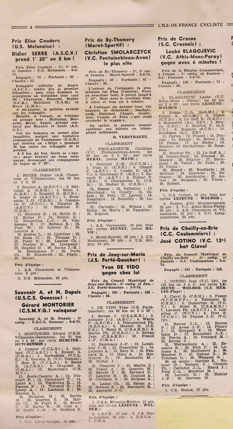 Coureurs et Clubs de juin 1974 à mars 1977 1974_019