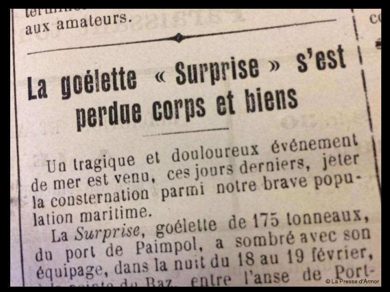 Naufrage de « la Surprise » dans la nuit du 18 au 19 février 1926  Journal de Paimpol du samedi 20 février 1926  Sans_433