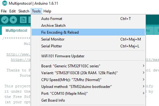 [TUTO] Customisation sous Arduino du module multiprotocole BG 4 en 1 STM32 Captur12
