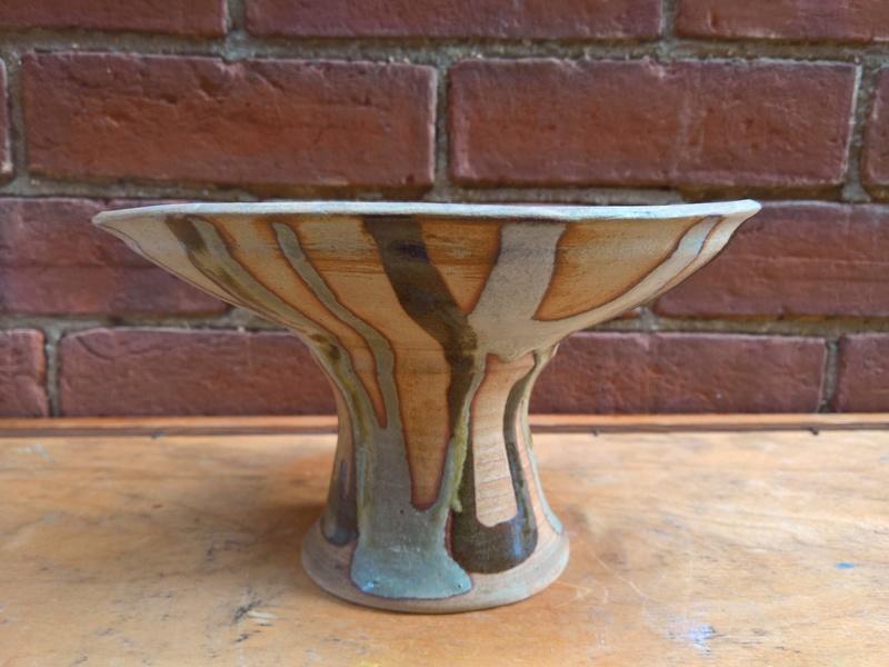 studio pottery pedestal dish impressed mark AK Wp_20111