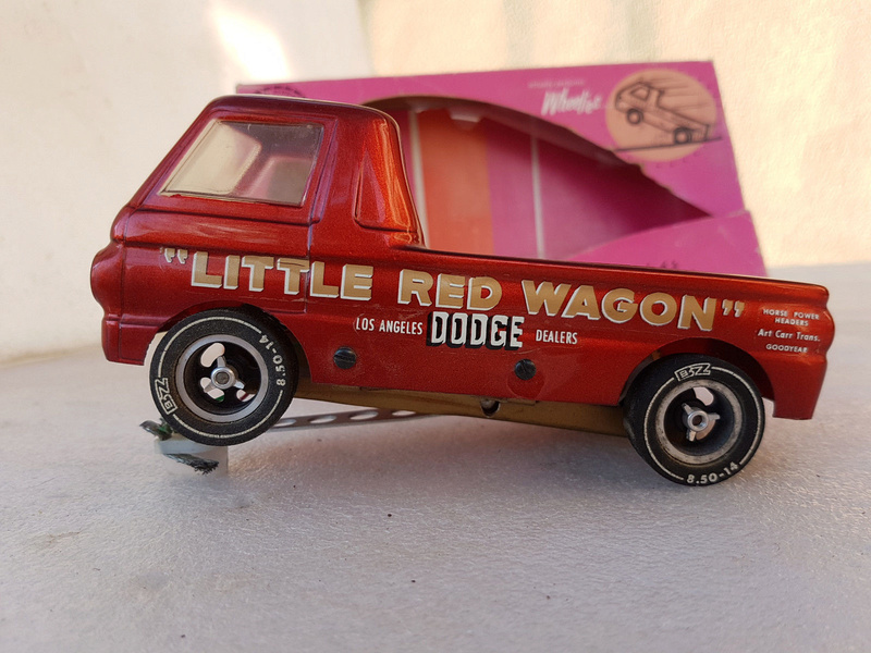 Slot car dragster 1960's BZ Dodge Little Red Wagon. 516