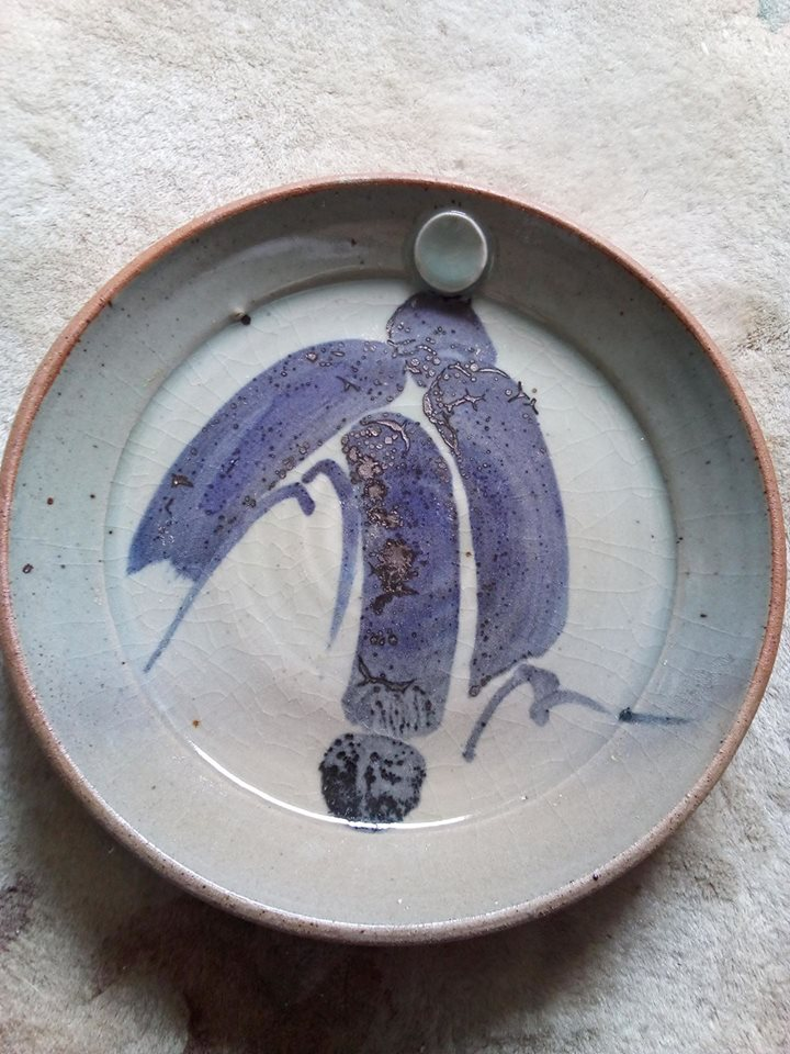 Celadon glazed plate with blue script-like decoration unknown incised mark Studio10