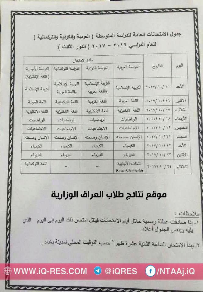 جدول امتحانات الصف الثالث متوسط الدور الثالث 2017 وزارة التربية 22008010