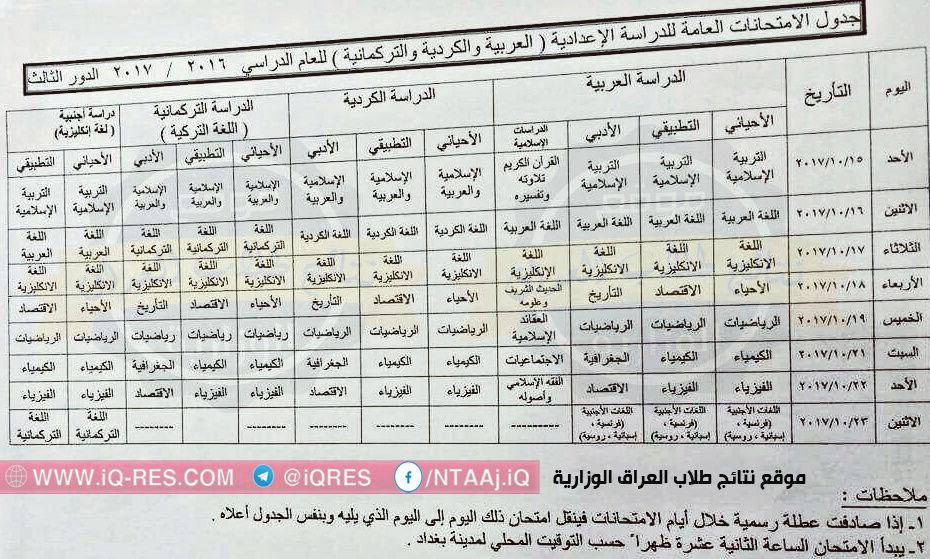 جدول امتحانات السادس العلمي والادبي الدور الثالث 2017 وزارة التربية 22008210