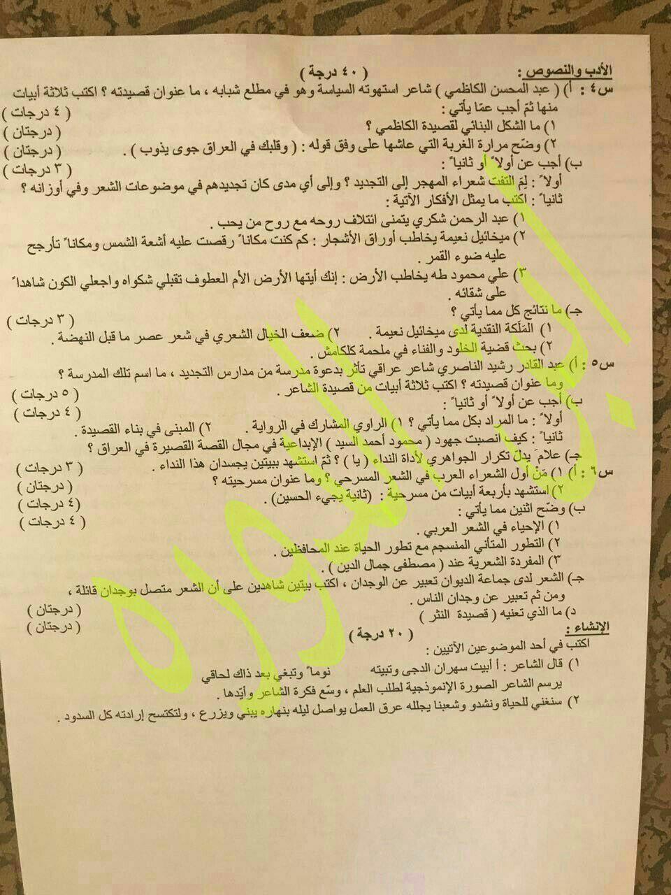 اسئلة اللغة العربية للصف السادس العلمي 2017 الدور الثاني Image11