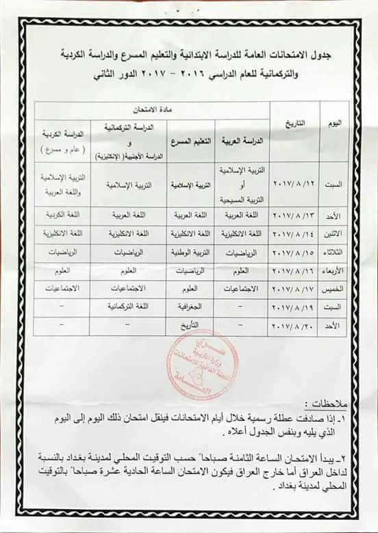 جدول امتحانات السادس الابتدائي الدور الثاني 2017 وزارة التربية Img_3911