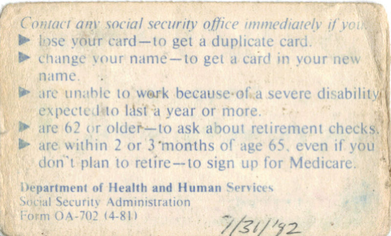 POLL--Does your Social Security card have a number on the back? Socsec10