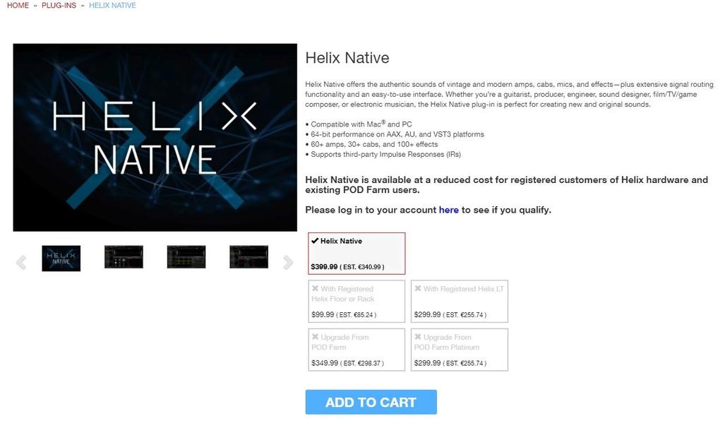 La version logiciel Helix version VST pour lancer dans votre logiciel séquenceur préféré Native10