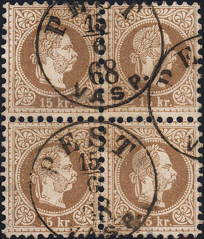 Freimarken-Ausgabe 1867 : Kopfbildnis Kaiser Franz Joseph I - Seite 17 15_kr_10