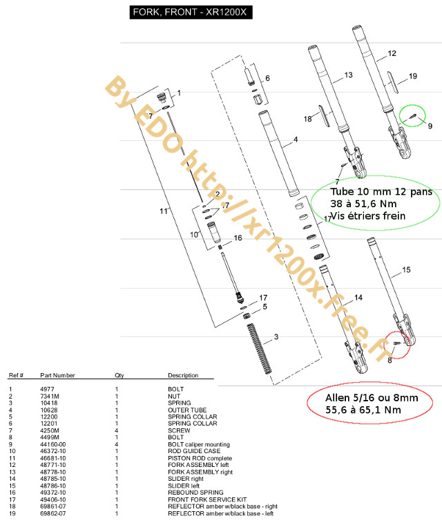 Couple serrage vis étrier Xr120010