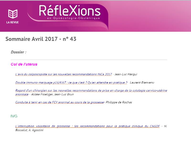 Télécharger  : LA REVUE RéfleXions en Gynécologie Obstétrique avril 2017 Gy10