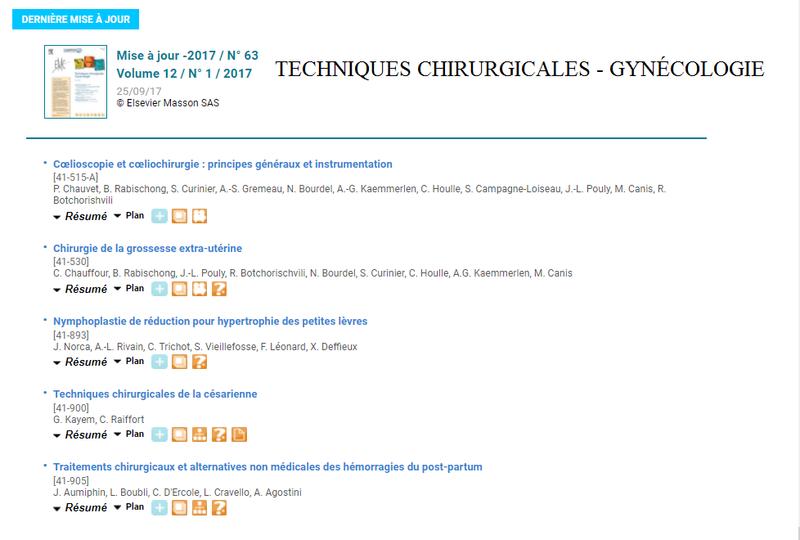Techniques chirurgicales - Gynécologie / - Mise à jour -2017 / N° 63 Volume 12 / N° 1 / 2017 - 25/09/17 Techni10