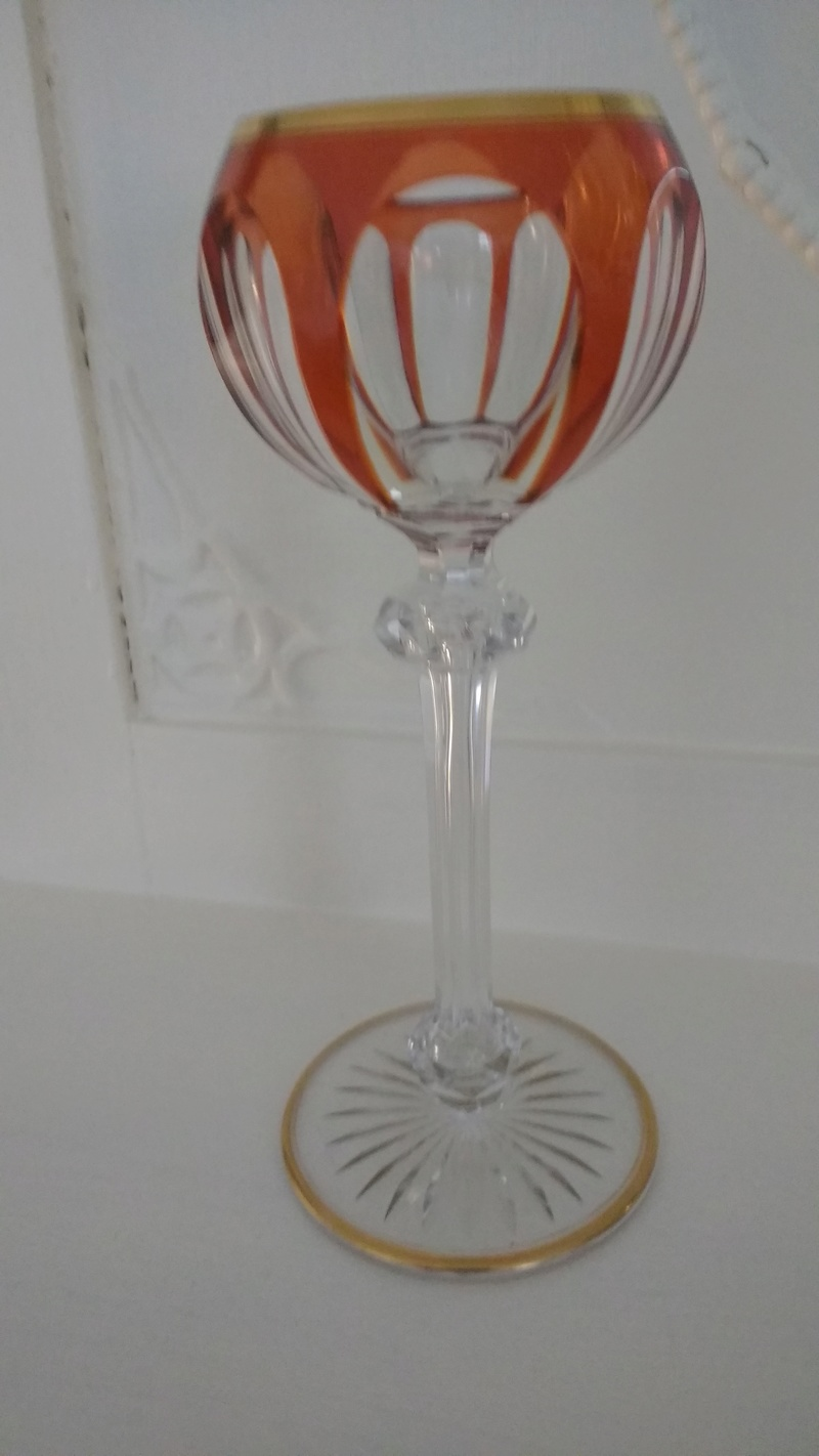 Beautiful hock glass with a part coloured bowl and elaborate stem ID please Img_2046