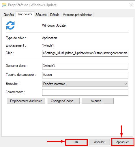 Créé raccourci Windows Update sous Windows 10 Cryy_u32