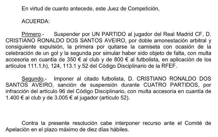 رسميا وبعد التظلم الذى قدمه ريال بشأن الطرد الذى حصل عليه رونالدو بالامس . 20729410