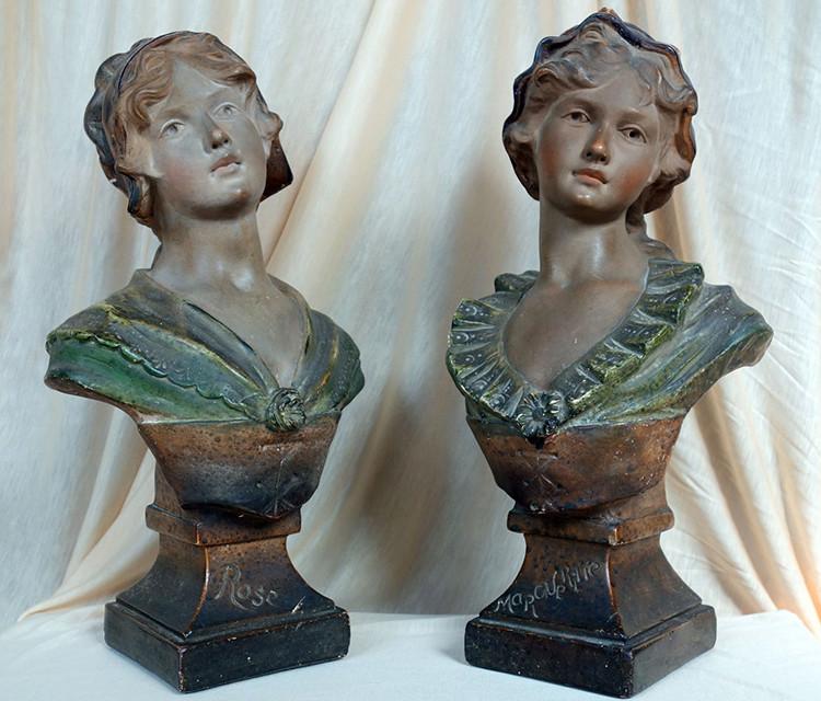 """Citti - Buste de femme en plâtre """"Margueritte"""" Citti Frères Statue10"""
