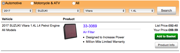 1.4 Boosterjet K&N Panel filter now available. Screen10