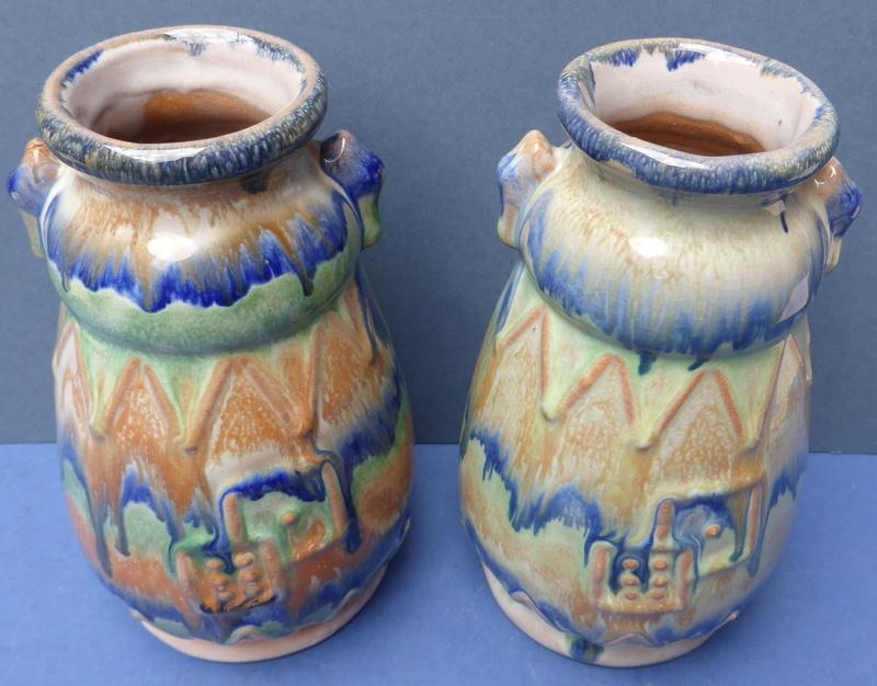 Help to ID Pair of 1930s Drip Glaze Vases P1360513