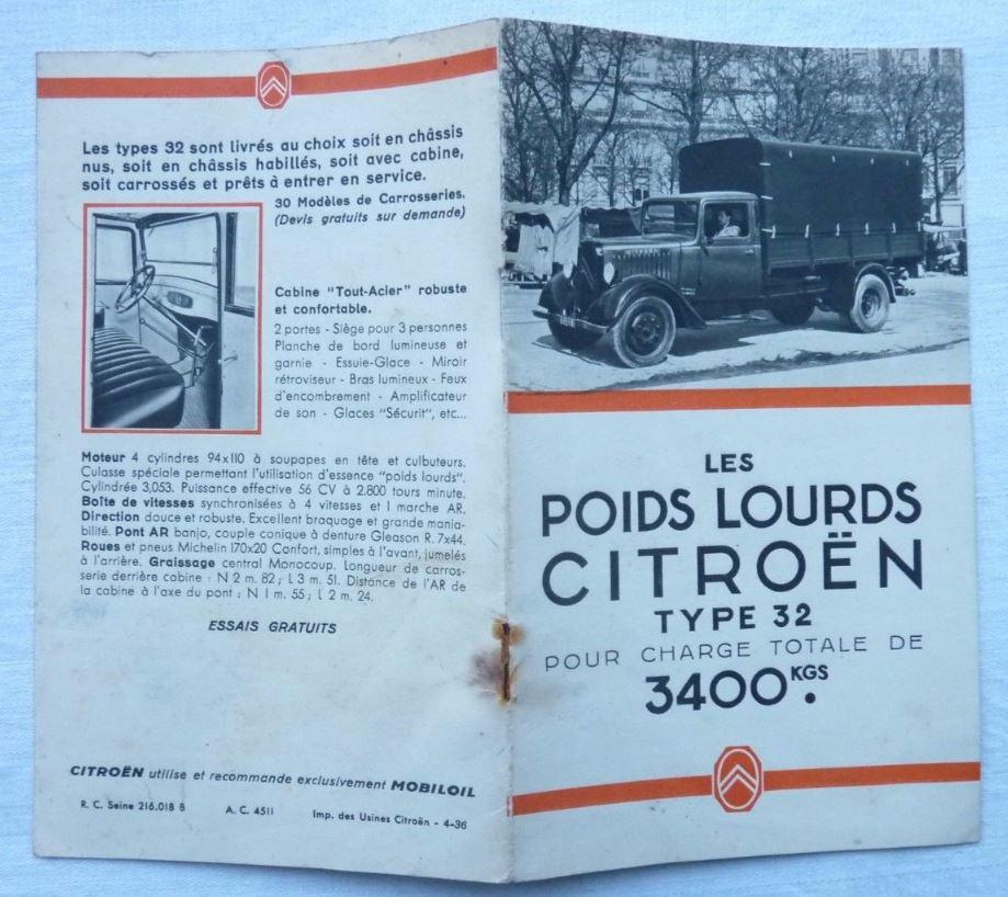 """Brochure """"Les poids Lourds Citroën type 32"""" de 1926 1129"""