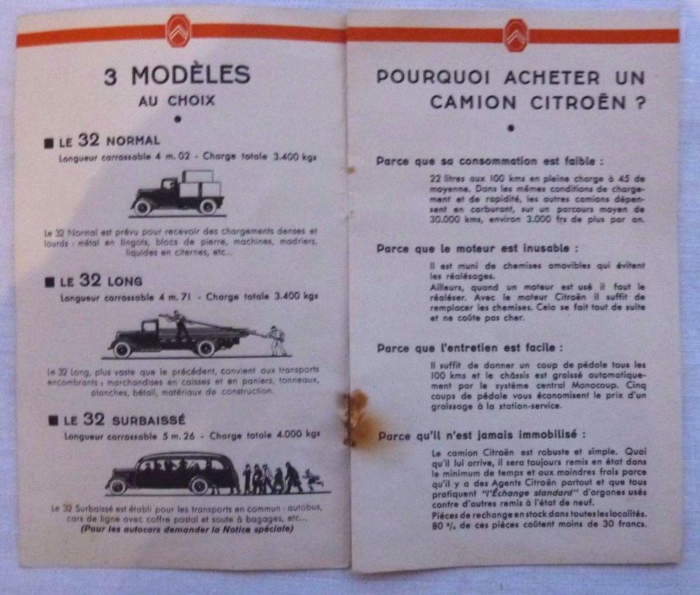 """Brochure """"Les poids Lourds Citroën type 32"""" de 1926 286"""