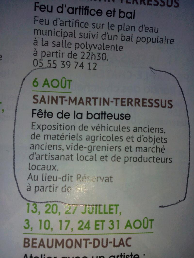 87 - St Martin - Terressus : Fête de la batteuse le 6 Août 2017 Limoge46