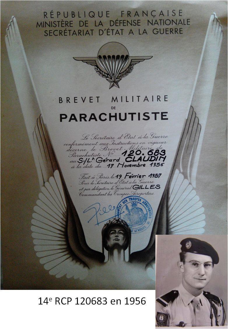 Mon Pere 14eRCP en 1956 - 1957 Brevet11