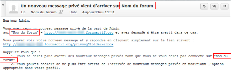 Titre et nom du forum Tuto211