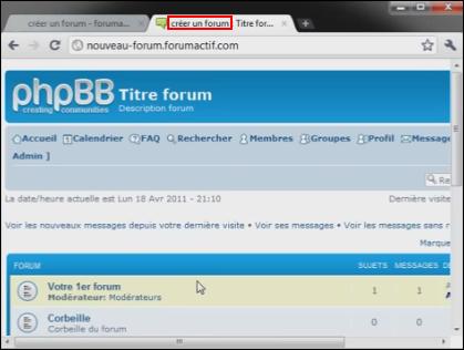 Titre et nom du forum Tuto810
