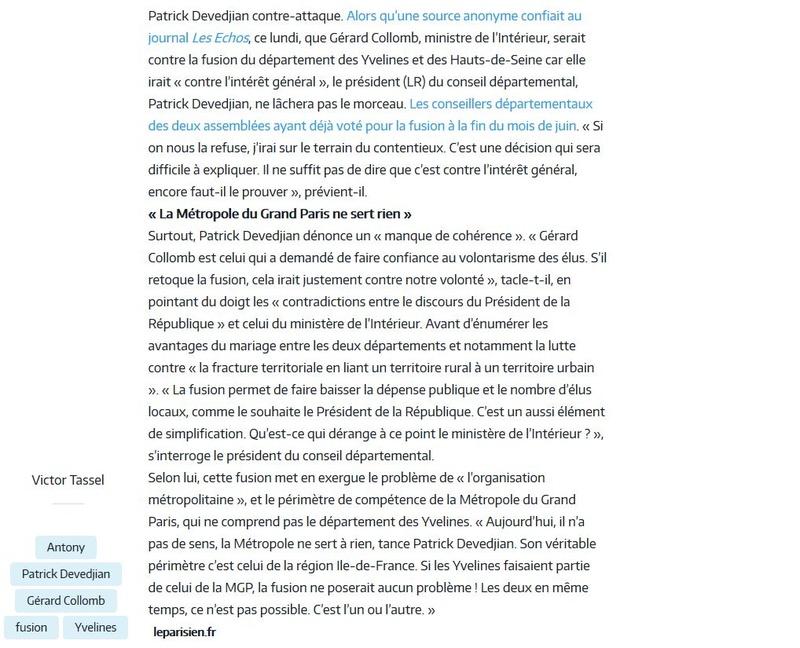 Fusion des départements des Hauts de Seine et des Yvelines Clipb164