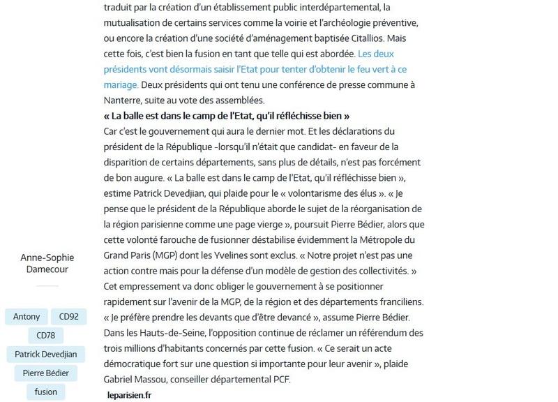 Fusion des départements des Hauts de Seine et des Yvelines Clipbo74