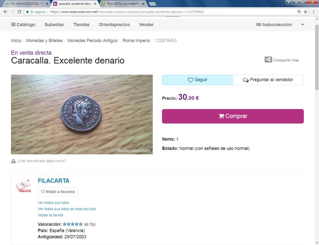 FILACARTA y su magnífica colección de denarios fundidos y bronces guarreados Caraca10