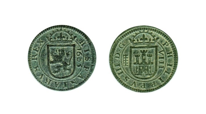 8 maravedís Felipe III de Segovia resellados. Felipe10