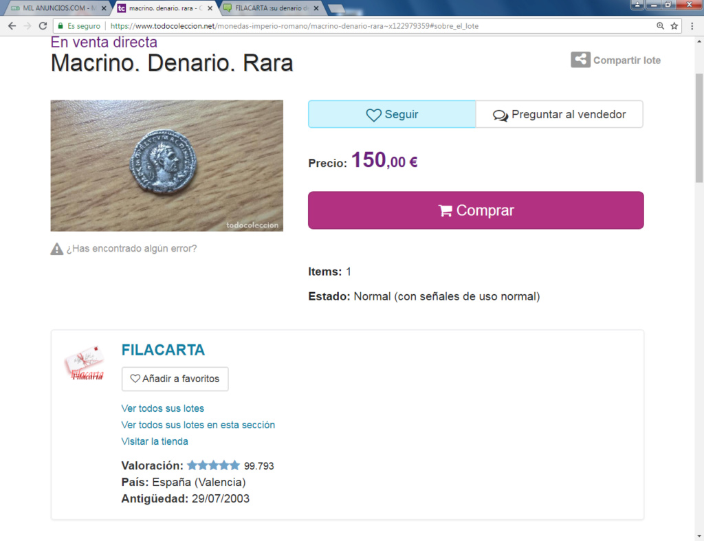 FILACARTA y su magnífica colección de denarios fundidos y bronces guarreados Macrin10