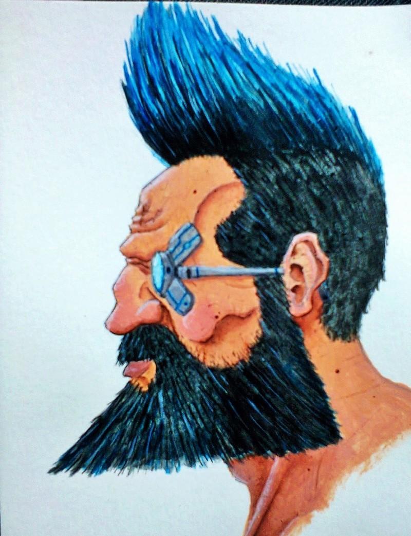 Tête de nain cyber-punk à la peinture acrylique. Photo111