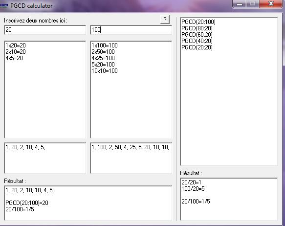 برنامج  رائع لايجاد القاسم المشترك الأكبر PGCD ( بطريقة القسمة أو الطرح ) Screen12