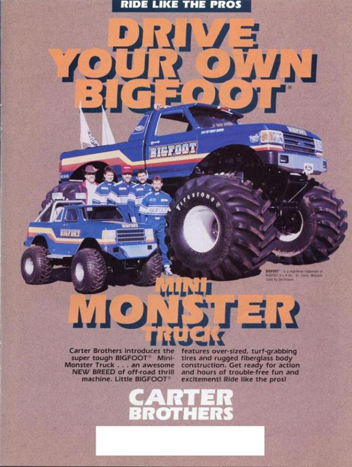 Carter Brothers Poster for the BigFoot Mini Monster Truck Go kart   20476310