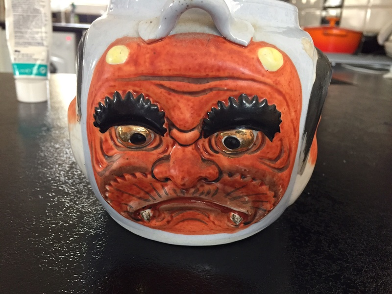 Teapot with multiple faces - Japanese Banko ware  Img_2416