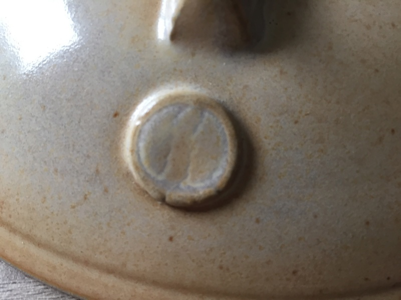 Casserole dish with a backwards S mark - Patrick Lester 1997 Steam Pottery Img_2619