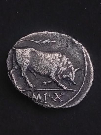 Denario de Augusto. IMP X. Toro embistiendo a derecha. Img_2028
