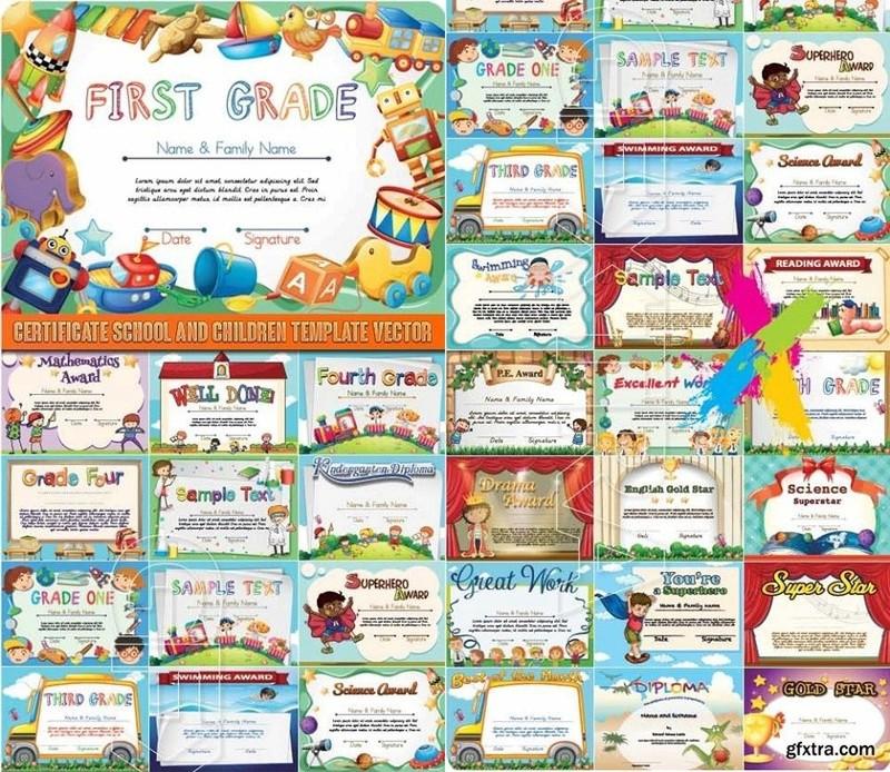 شهادات تقدير للاطفال فيكتور CERTIFICATE SCHOOL AND CHILDREN TEMPLATE VECTOR 111