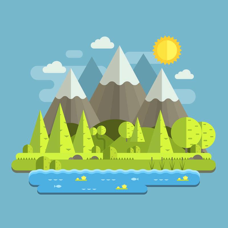 درس Adobe Illustrator . عمل منظر طبيعي . FLAT DESIGN Mounta10