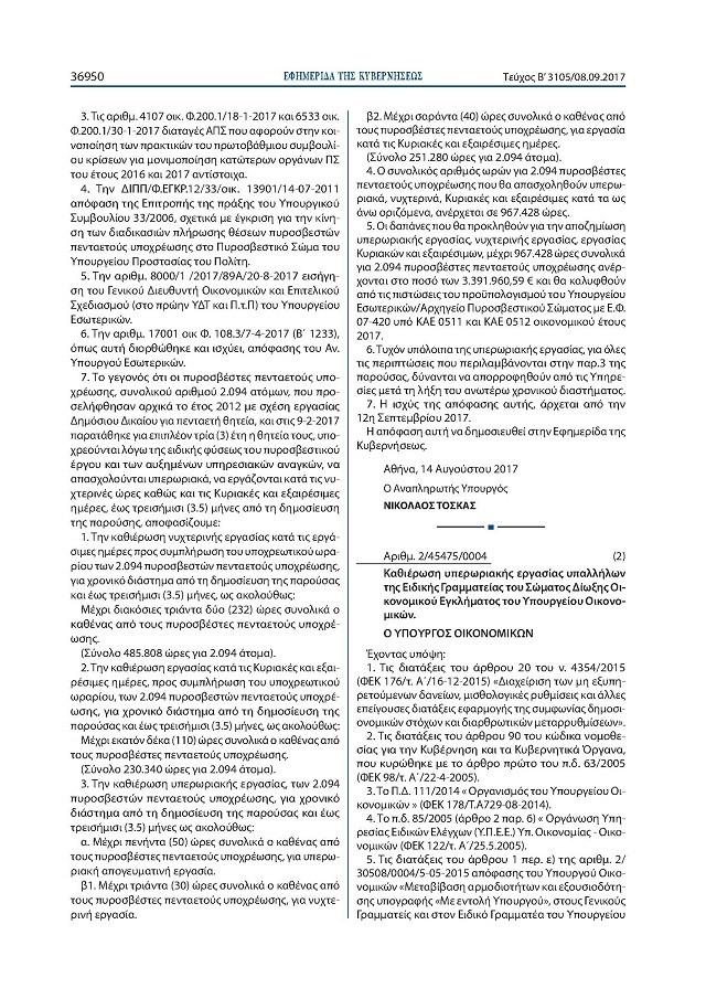 ΤΟ Φ.Ε.Κ ΓΙΑ ΤΙΣ ΩΡΕΣ ΤΩΝ Π.Π.Υ ΠΟΥ ΑΝΑΝΕΩΣΑΝ ΓΙΑ ΤΡΙΑ ΧΡΟΝΙΑ Docume11